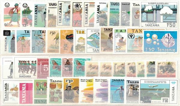 Známky Tanzánia, rôzne série 46 ks narazítkované MINT