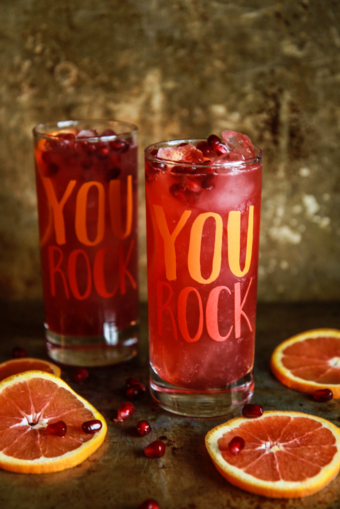 Blood Orange Pomegranate Whiskey Sours from HeatherChristo.com