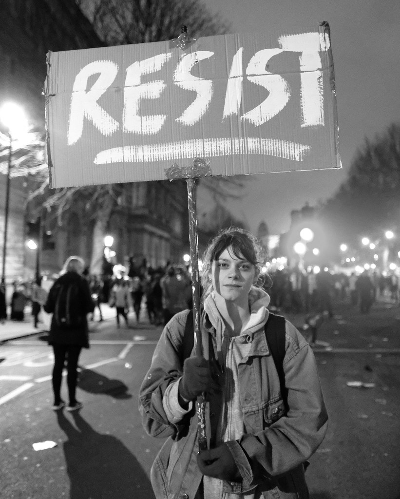 RESIST - A demonstrator with a message at London's anti-Tr ...