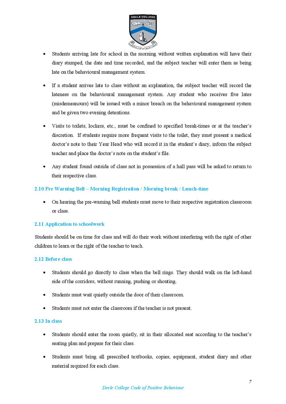Deele College Code of Positive Behaviour Booklet 2016-page-007