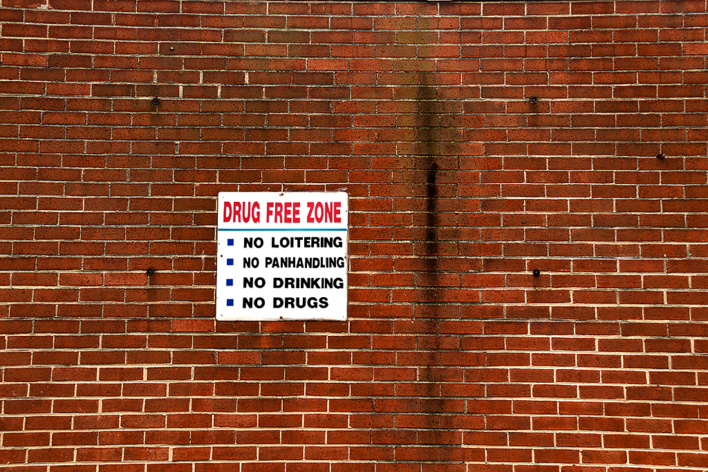 DRUG FREE ZONE sign on H Street--Washington