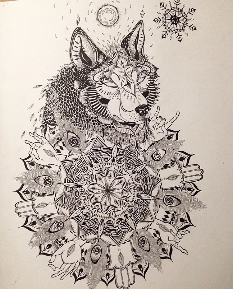 Tattoo commission #tattoo #tattoos #wolf #mandala #drawing