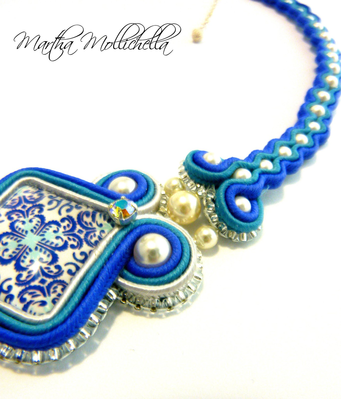 collana soutache azulejo contemporaneo by Martha Mollichella Handmade Jewelry