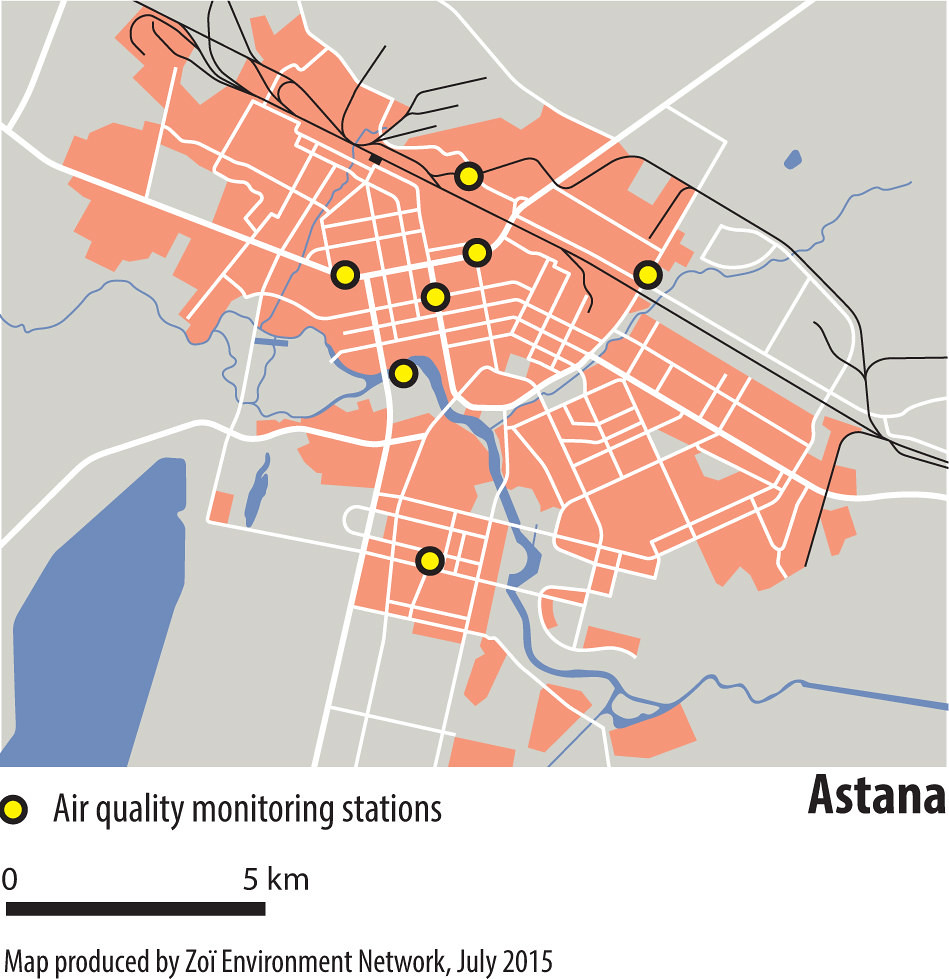 Astana city map A city map of Astana showing air quality m Flickr
