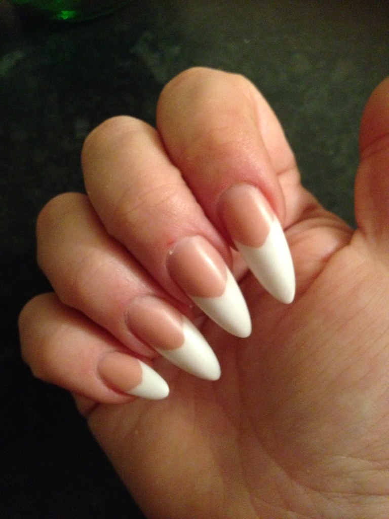 Long almond shape nails with peach blush and white acrylic… | Flickr