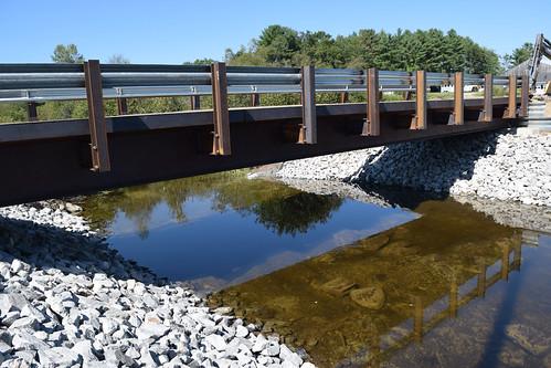 The new prefabricated bridge at the Al Dube Quarterhorse farm in Biddeford, Maine