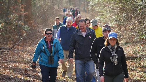 Photo of hikers joining Secretary Mark Belton on a First Day Hike in 2017