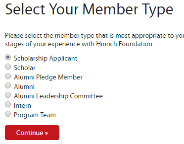 Hinrich application selecting member type