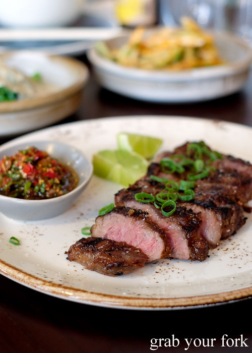 Grilled wagyu striploin with Asian chimichurri at Yan Restaurant in Wolli Creek Sydney