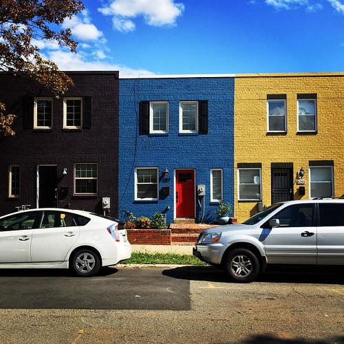 Fun with color and repetition: I'm really enjoying these rowhouses in Trinidad. (Another DC neighborhood I was taught to fear as a kid, now I can't afford to live there.)