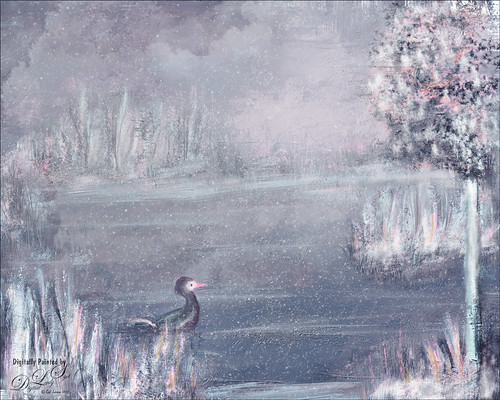 Painting of a duck in his wintry home