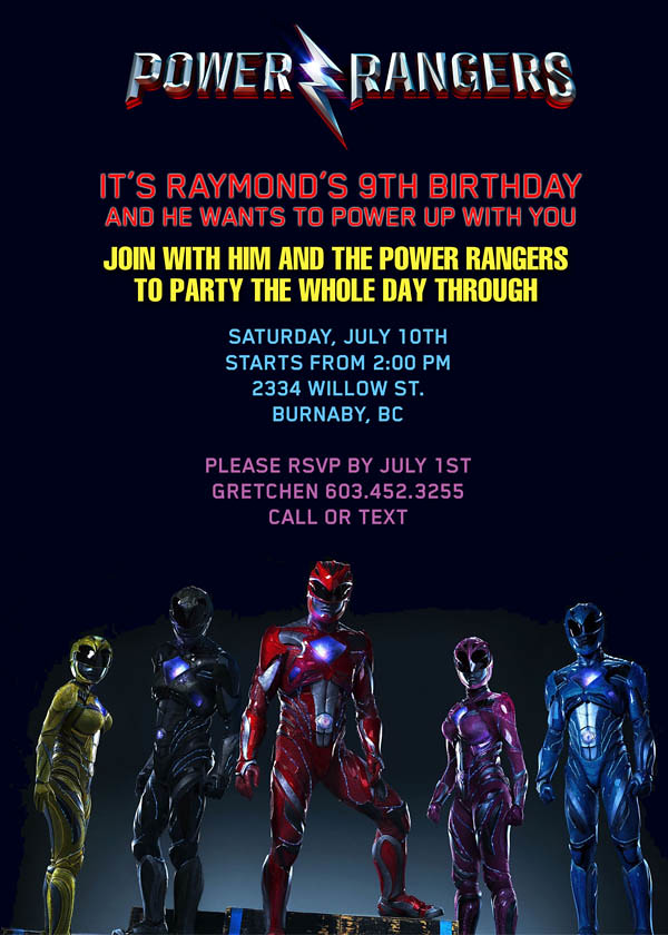 Power Rangers Birthday Invitations The Best Invitation In 2017 – Power Ranger Party Invitations