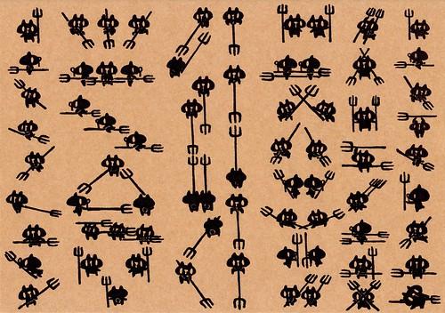 クラフト紙25_フォークを持つ黒プレーン縦列