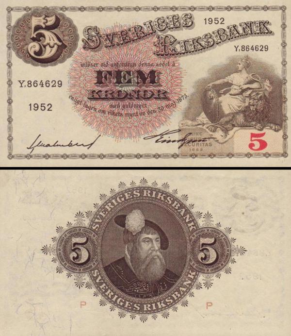 5 Korún Švédsko 1952, P33ai
