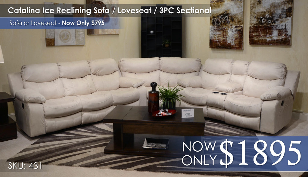 Catalina Ice Reclining Sofa Love Sectional 431