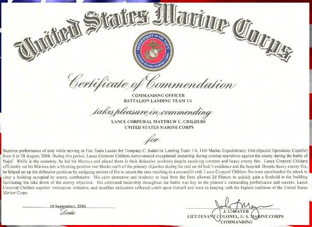 certificate of commendation usmc template usmc commendation certificate of commendation