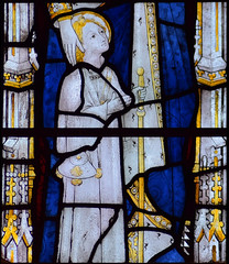 St James as a child (Clayton & Bell, 1973, copy of 15th Century glass at All Souls College, Oxford)