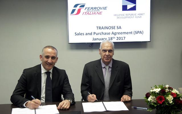 l'AD e Direttore Generale di FS Italiane, Renato Mazzoncini, e l'AD del fondo per lo sviluppo degli asset della Repubblica Greca (Hellenic Republic Development Asset Fund – HRDAF), Antonis Leousis.
