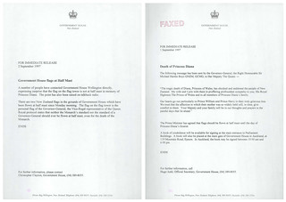 Correspondence regarding death of Diana, Princess of Wales (1997) | by Archives New Zealand