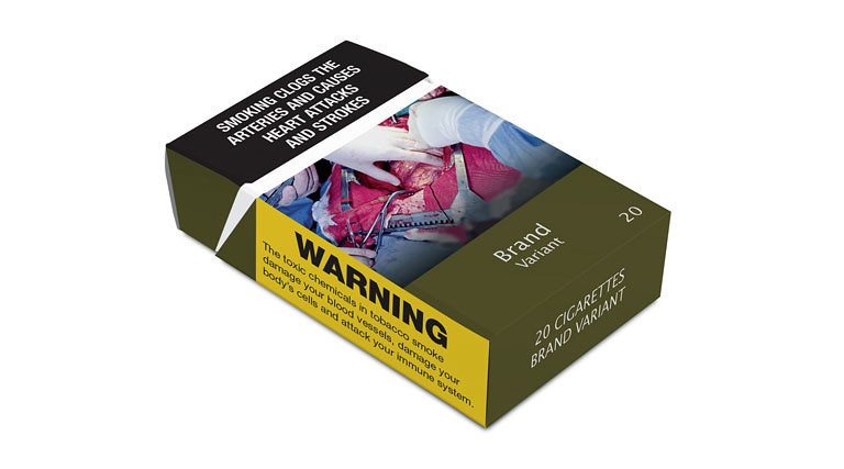 An example of standardised cigarette packaging, including a health warning