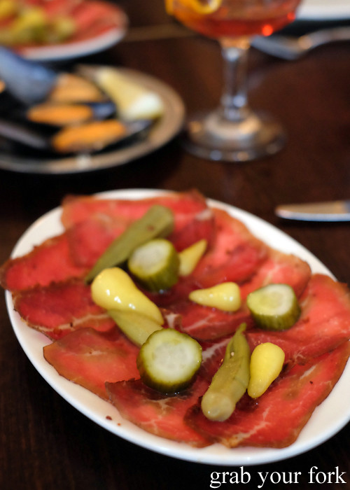House cured pastirma spiced beef with pickles at Stanbuli in Enmore