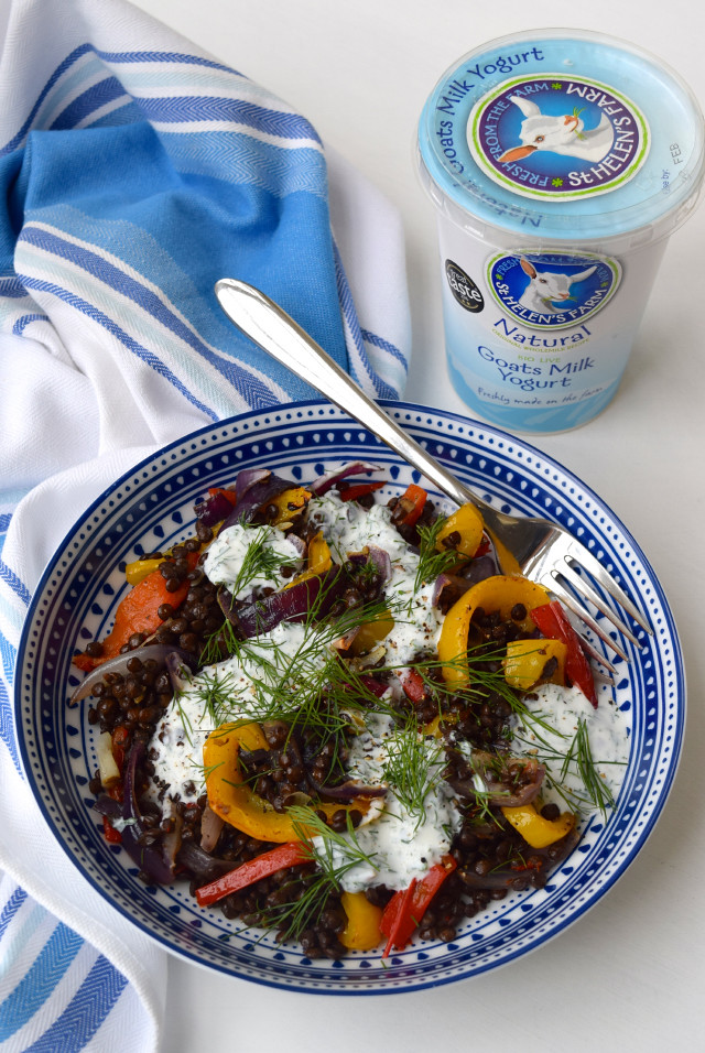 Warm Roasted Vegetable Lentil Bowl with Herby St. Helen's Farm Goats Yogurt | www.rachelphipps.com @rachelphipps