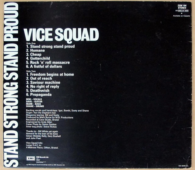 "VICE SQUAD STAND STRONG STAND PROUD OriG ZEM 12"" LP VINYL"