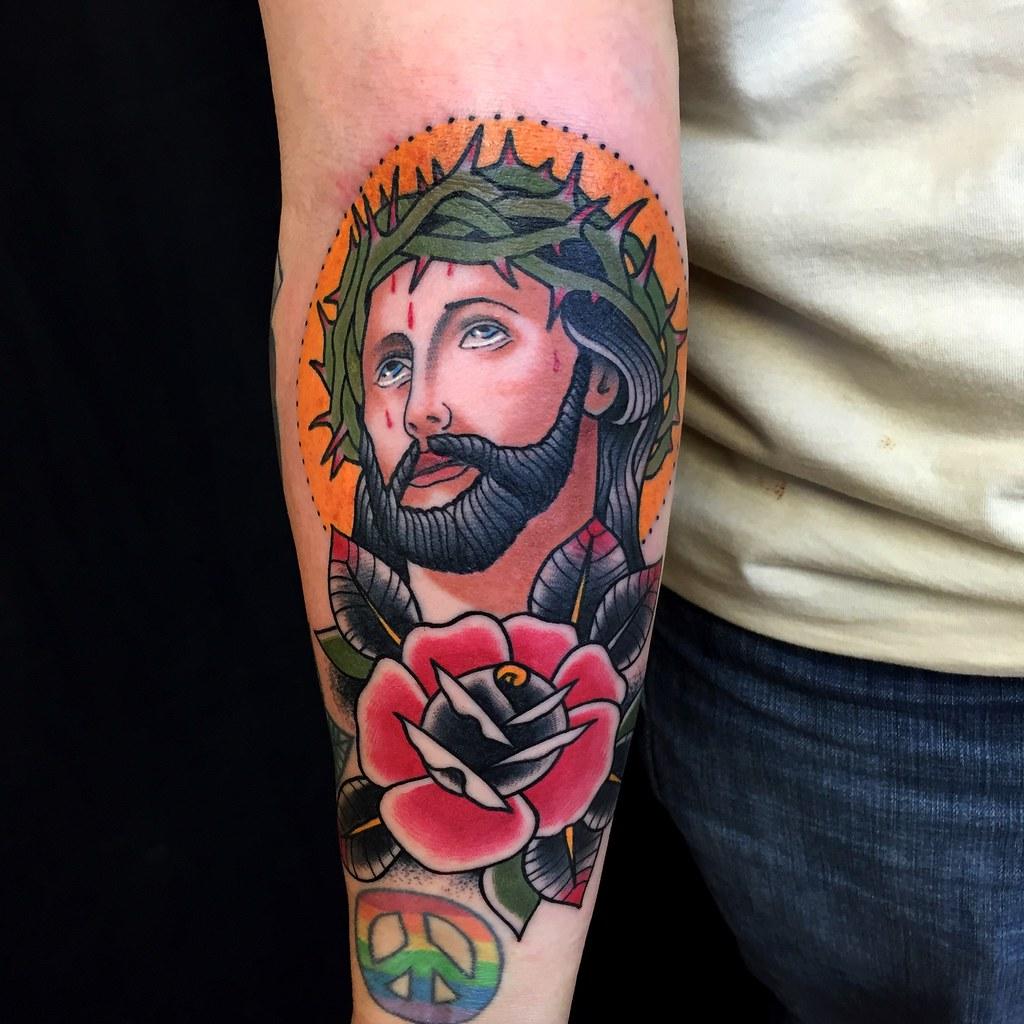 Traditional Jesus Tattoo Myke Chambers Tattoo By Myke Cham Flickr
