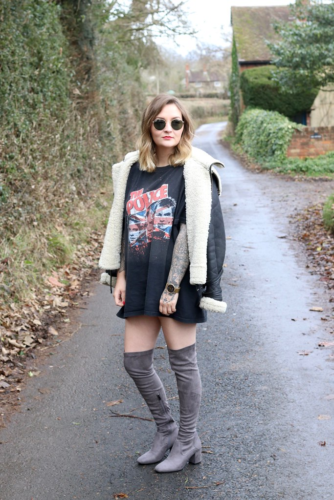 4th and reckless, 4th and reckless boots, thigh high boots, the police, the police t-shirt, band t-shirt,katelouiseblog,styling thigh high boots, Aviator Jacket, Sheepskin Jacket, ray bans, street style,