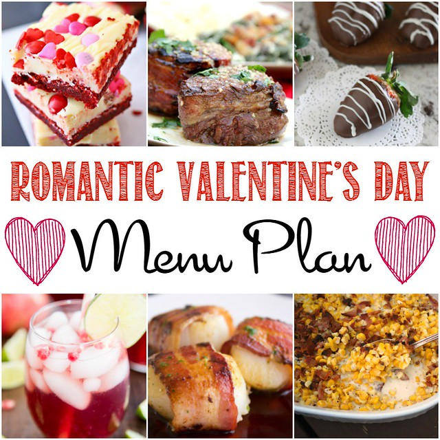 Romantic Valentine's Day Menu Plan collage.