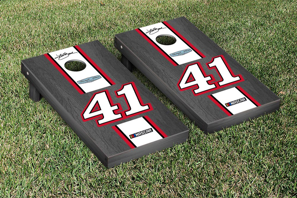 KURT BUSCH #41 CORNHOLE GAME SET ONYX STAINED STRIPE VERSION (1)