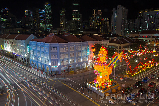 The 13 metre tall rooster lantern with a 100 metre long tail.