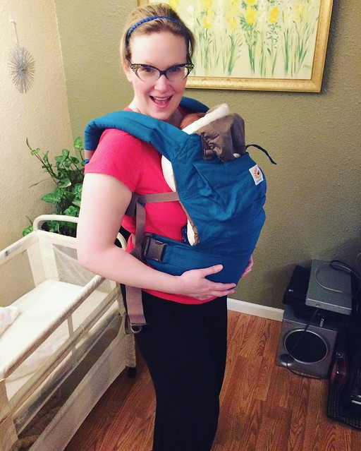 Trying out the Ergo carrier with infant insert (and actual baby inside).