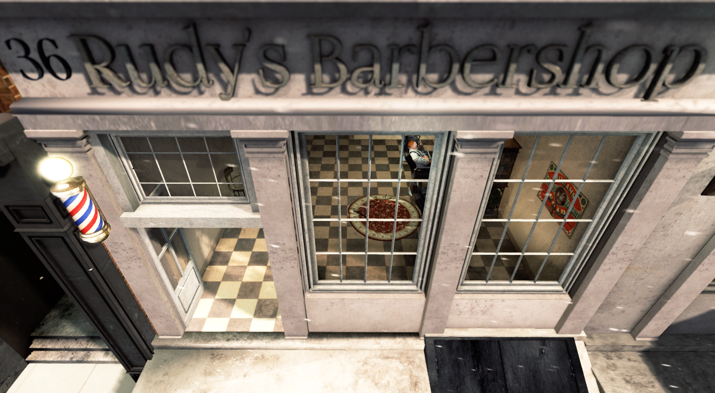 The barber shop in color