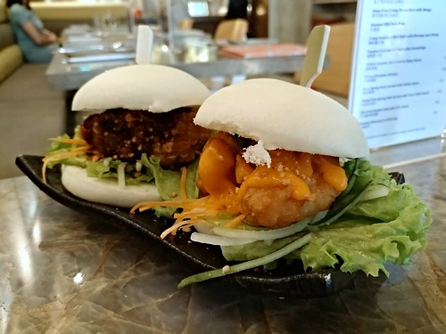 Kung Pao Fried Chicken and Salted Egg Yolk Prawn Bao