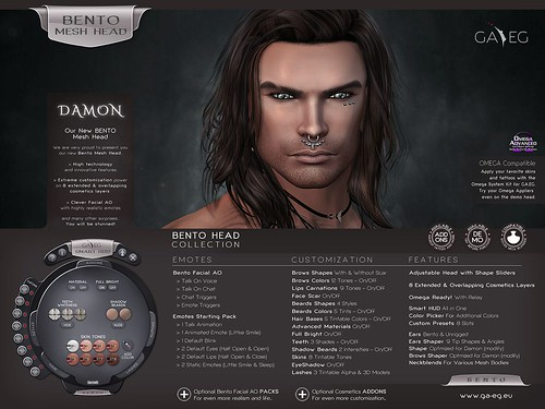 NEW !!! GA.EG DAMON Bento Mesh Head - Released !!! | by Gael Streeter - GA.EG (Bento Heads) & Gaeline Crea