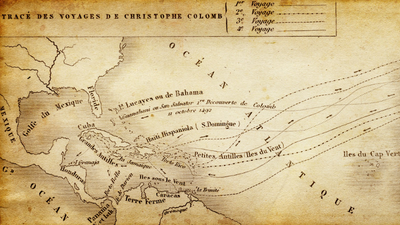 Map of Christopher Columbus' voyages