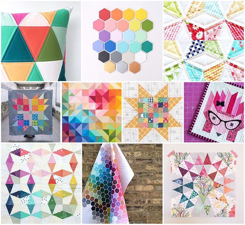 dear swap partner, these are a few of my favorite things. i'm not hard to please. i love color, obviously. and according to this collage, i am drawn to all the common quilty shapes; hexagons, squares, and triangles. even though you probably don't know wha | by rachelgriffith