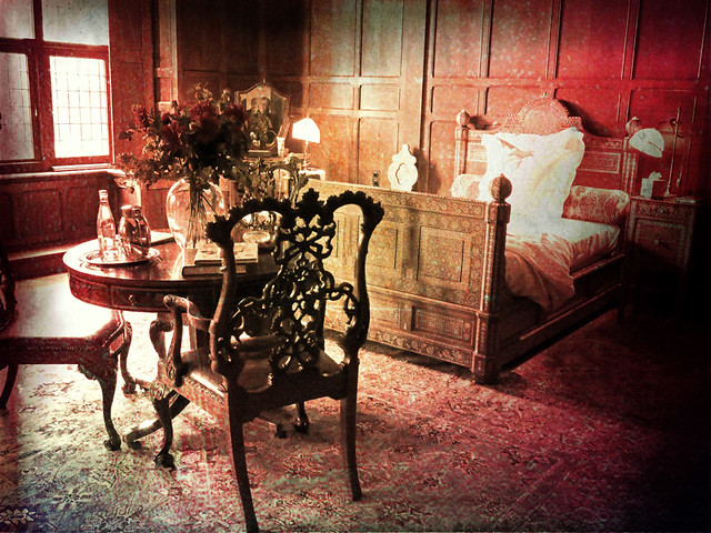 The bedroom in Kasteel Haar in Holland, run through the photo app Pixlromatic
