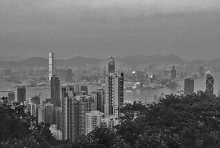 Victoria Peak - View of HK Central bw