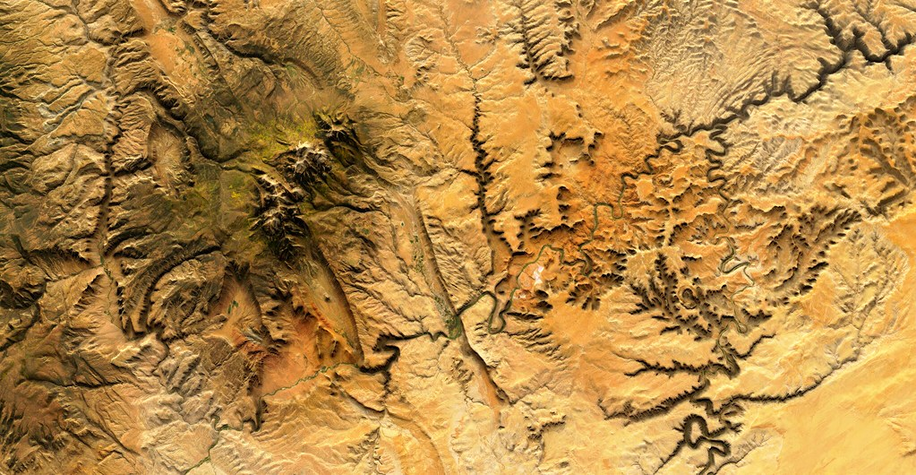 Satellite imagery of valleys and rivers