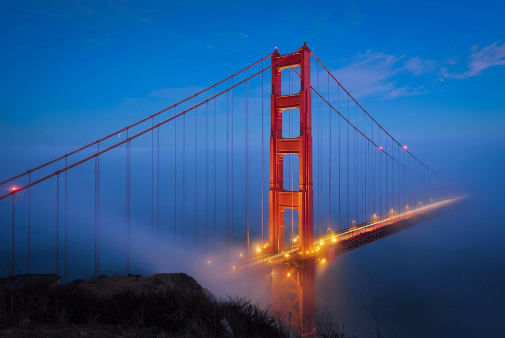 golden gate night lights golden gate bridge at blue hour flickr. Black Bedroom Furniture Sets. Home Design Ideas