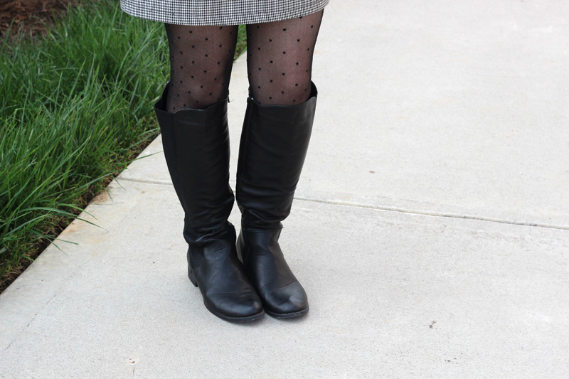 Flat Black Boohoo Knee High Boots with Tiny Polka Dot Tights