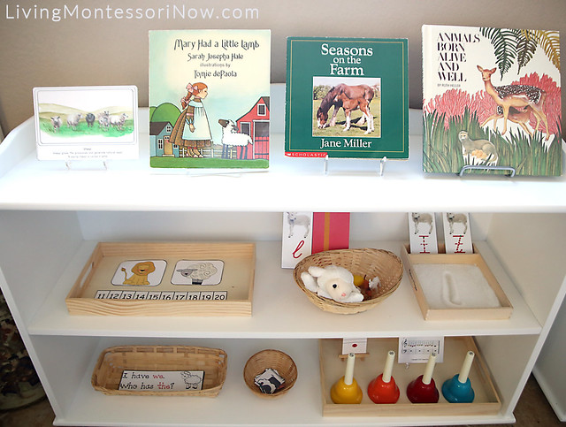 Montessori Shelves with a Lamb Theme