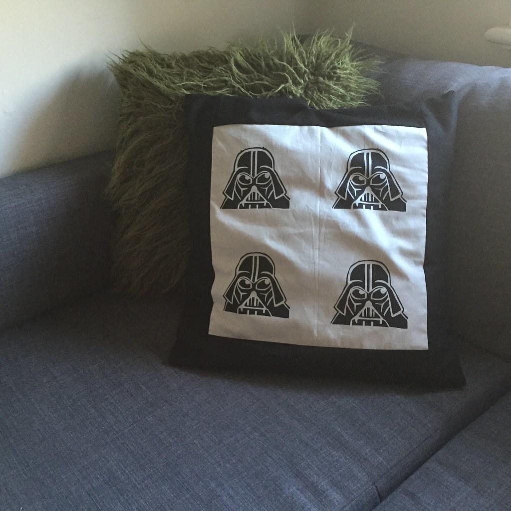 cushion made of screen printed panel with Darth vader motifs