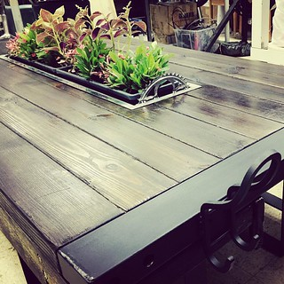 Rooftop table DIY. Deco with greens #metalwork #woodwork #rooftop #table #diy #making #greening | by paddy-fung