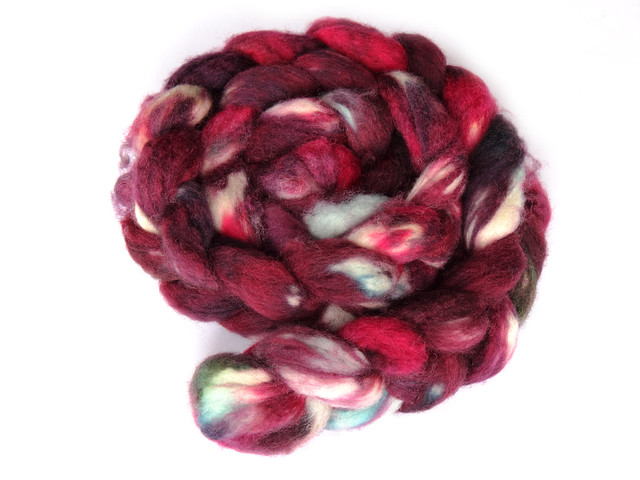 Hand dyed British BFL combed top/roving 'Kir Royal' 125g