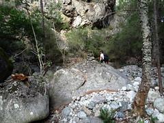 Traversée de l'Ancinu vers le vieux chemin de remontée en RG marquée par un gros cairn