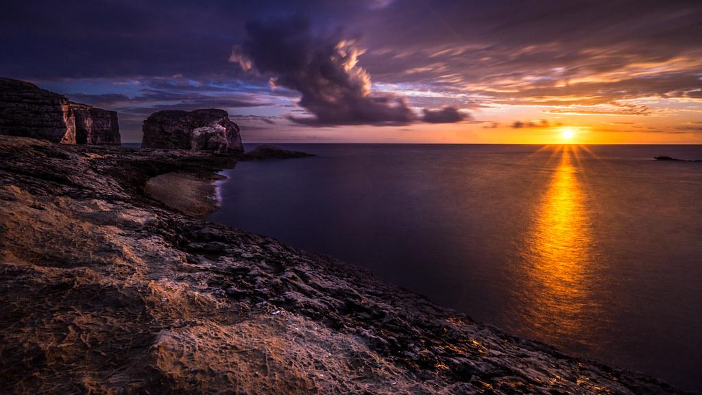 Fungus Rock At Sunset Gozo Malta Landscape Photograph