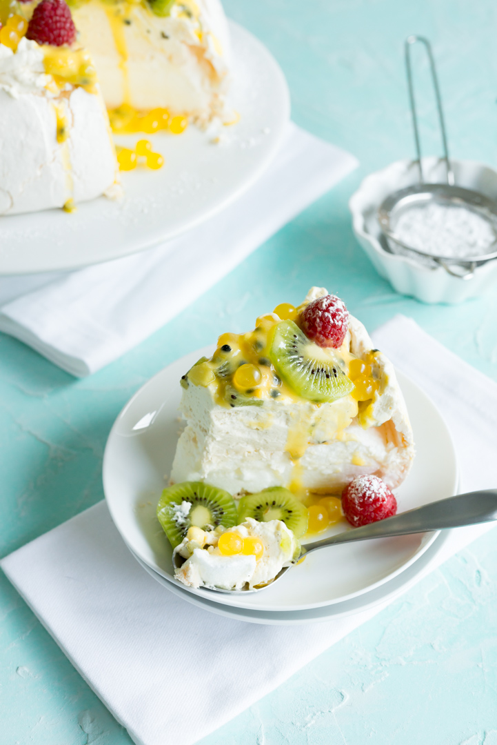 Vanilla Pavlova with Vanilla Bean Whip, Passion Fruit Curd and Pineapple Boba www.pineappleandcoconut.com